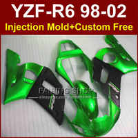 R8E ABS vert carénages noirs pour YAMAHA YZF R6 1998 1999 2000 2001 2002 carénages kit YZF R6 98-02 corps réparation pièces 9H9