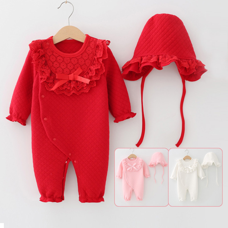 Winter Newborn Baby Girl Clothes Lace Collar Bow Thicken Jumpsuit Clothing Sets Girls Bodysuit+ Hats stylish round collar sleeveless lace spliced women s jumpsuit