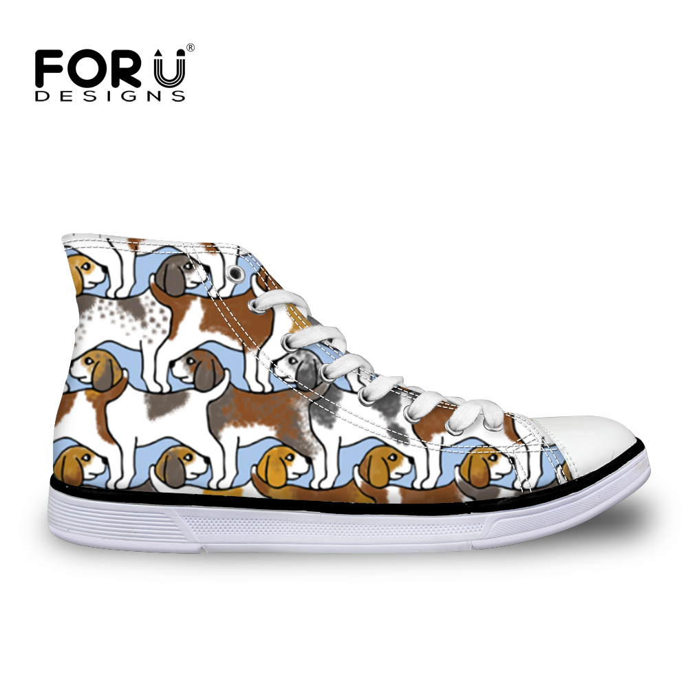 FORUDESIGNS Women Vulcanize Shoes Beagles Pet Dog Printed Canvas Shoes Woman Sneakers Casual Flat Fashion Students Walking Shoe printed assassins creed canvas shoes fashion design hip hop streetwear unisex casual shoes graffiti women flat shoe sapatos