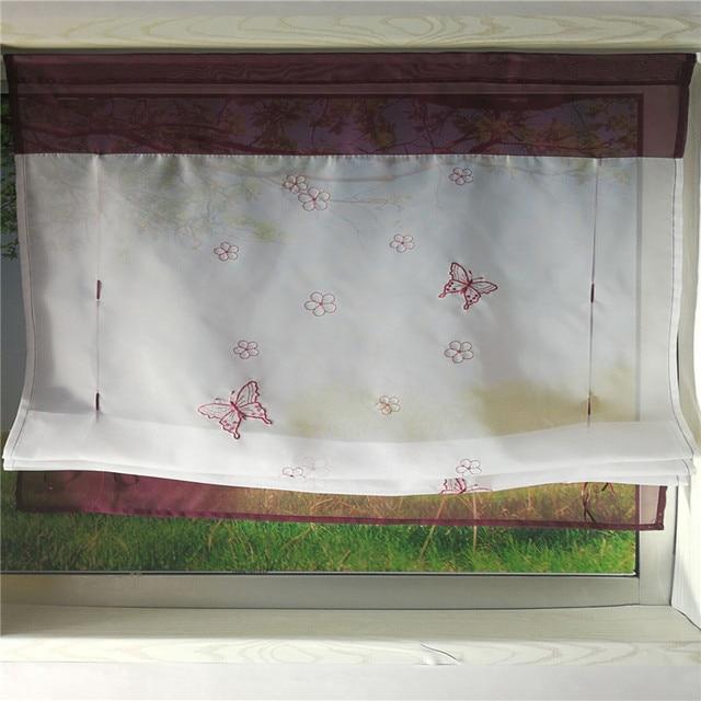خليج نافذة مطرزة فراشة روما الستائر المطبخ قصيرة الستار عن نافذة شرفة خياطة الأخضر تول شير الأورجانزا Q011D3