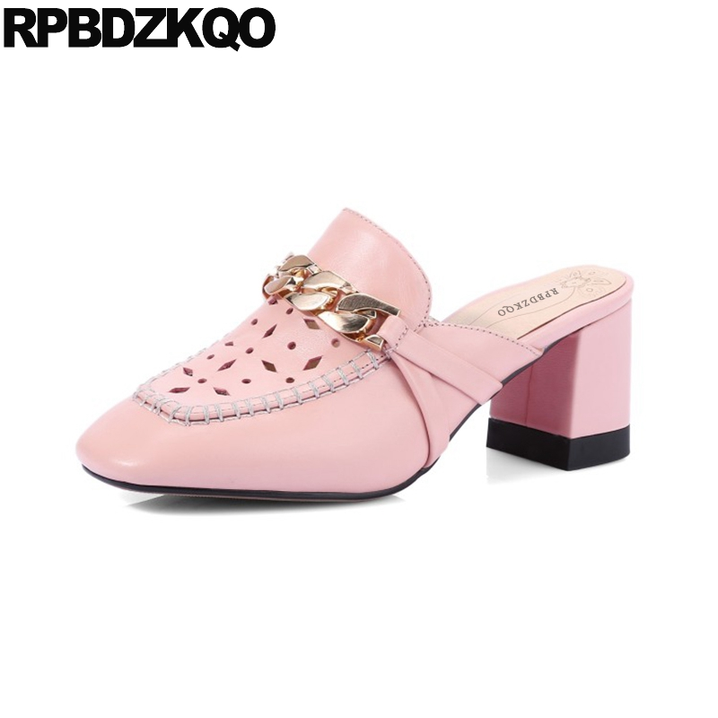 High Heels Square Toe Block 2017 Mules Slipper Sandals Top Quality Designer Women Luxury Shoes Summer Pink Size 4 34 Pumps Chain  top quality wholesale price slipper mixed color thick high colorful spike heels fashion sexy women summer sandals free shipping