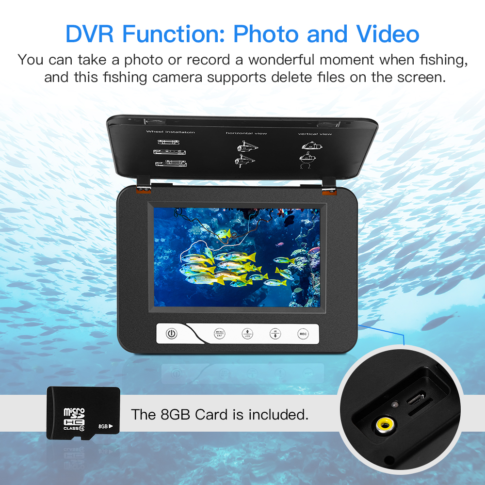Eyoyo EF15R Original 15M 1000TVL Underwater Ice Fishing Camera 5 quot LCD Monitor 4pcs Infrared 2pcs White Leds Night Vision Camera in Fish Finders from Sports amp Entertainment
