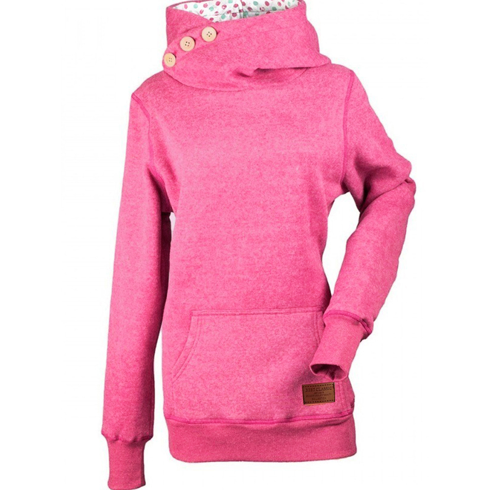 Sisjuly Rose Red Blue Gray Turtleneck Hoodie Pocket Press Button Hooded Hoodies Solid Applique Women Autumn Winter Sweatshirts
