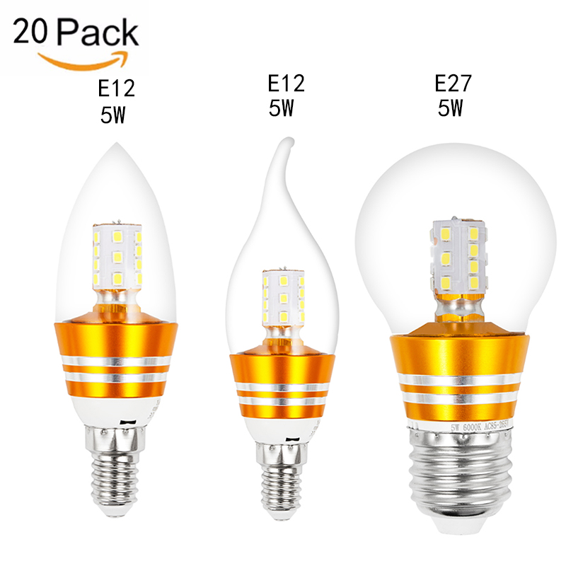 MIFXIN 20pcs E12 E27 5W Led Candle Energy Saving Lamp Light Bulb Home Lighting Decoration Led Lamp 85-265V 3000K 6000K led smart rechargeable e27 emergency light bulb lamp home commercial outdoor lighting b22 5w 7w 9w 12w 220v energy saving lamp