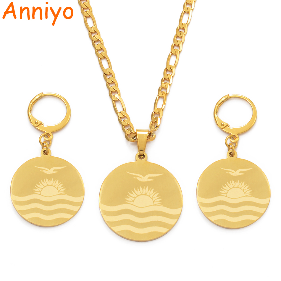 Anniyo kiribati Flag Pendant Necklaces Earrings for Women Girls Gold Color Stainless Steel Jewelry Sets Kiribati Gift #076321@