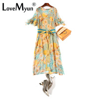 Women Summer Chiffon Dress 2019 Fasion Elegant Printing Flare Sleeve Drawstring Long Maxi Party Dress Vestidos