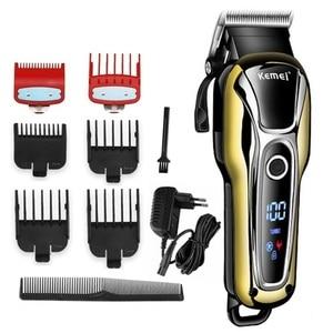 Image 1 - 理髪店バリカンプロのヘアトリマー男性のひげ電気カッター毛髪切断装置の散髪コードレスコード付き