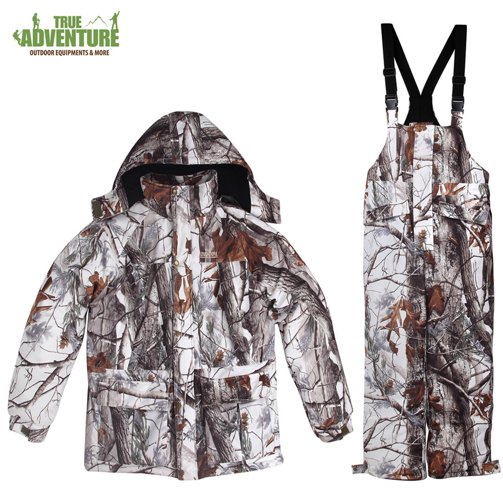 True Adventure Winter Bionic Camouflage Suit Snow Camouflage Hunting Suits Hunting Hunting Suits A4866 bionic camouflage hunting clothing 4pcs set jacket pant gloves cap suspenders suitable for spring autumn winter hunting suits
