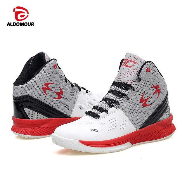 e84d1b8a1 ALDOMOUR 2018 حذاء كرة السلة للرجال بنين الاطفال أحذية رياضية عالية الجودة  الأحمر الأبيض بو كرة