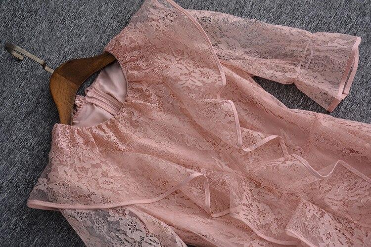 Designer Volants Femmes Élégante Dentelle D'été Évider De Papillon Rose Robe Piste Partie Cascade Vacances Manches Bal TrqtzT