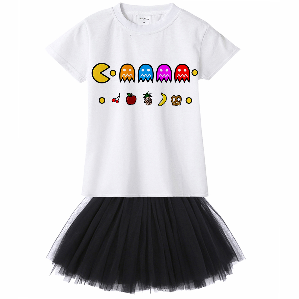 1Yto12Y Funny Game Pac Man Kids Girl Dress Cartoon Pacman Baby Toddler Tutu Dress Children Girl Summer Clothes Tshirt Tutu dress