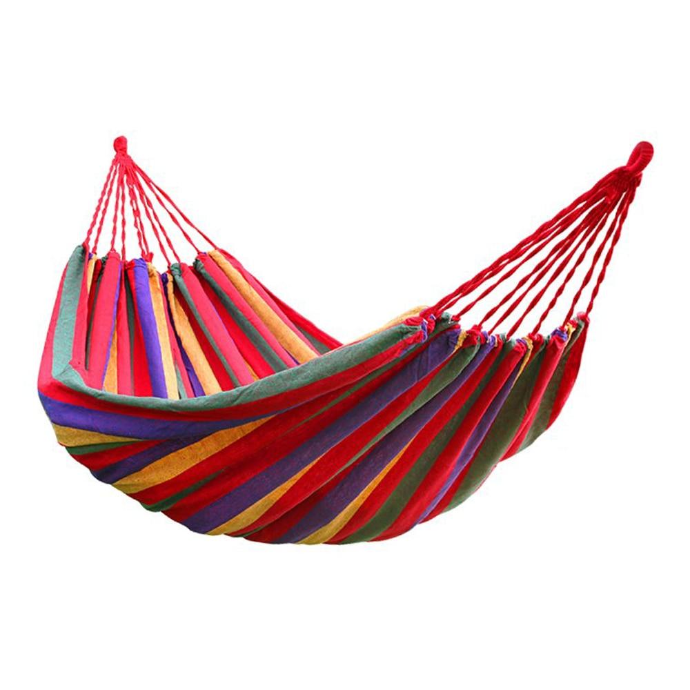LHBL 190cm X 80cm Portable Outdoor Picnic Garden Hammock Hang Bed Travel Camping Swing Stripe Canvas Mat 120kg