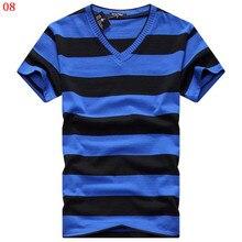Alishebuy 2017 Male V-neck T-shirt Men's Short Sleeve Tshirt Man Cotton Striped T Shirts Mens Clothing Multi Size