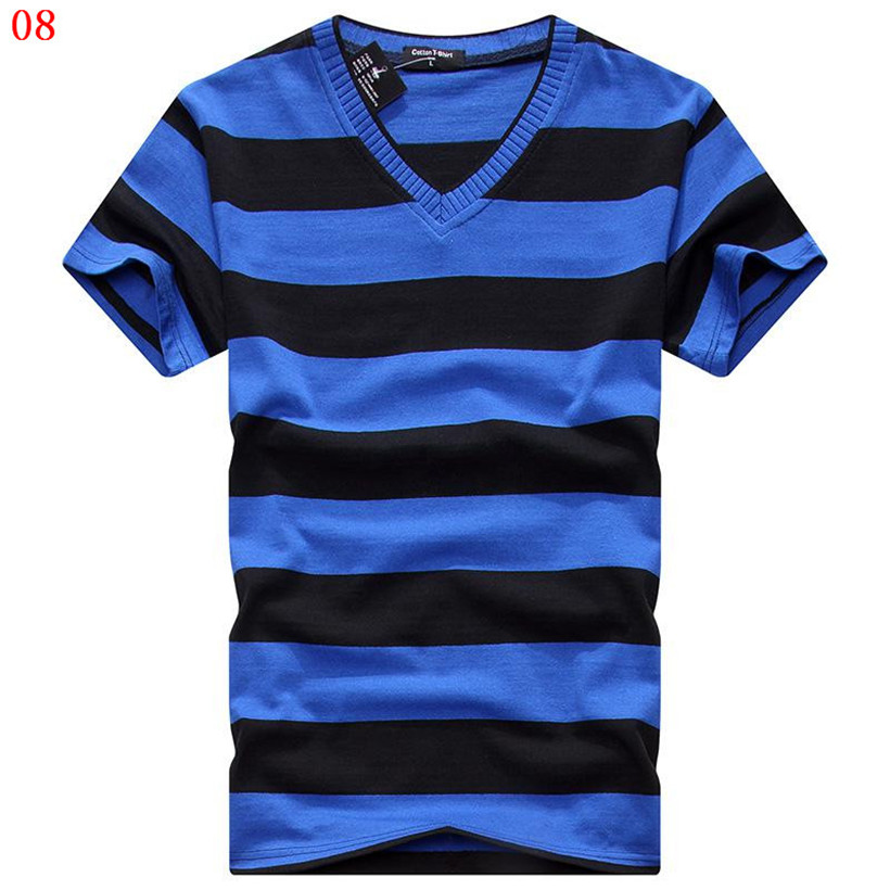 MwOiiOwM 2018 Male V-neck   T  -  shirt   Men's Short Sleeve Tshirt Man Cotton Striped   T     Shirts   Mens Clothing Multi Size