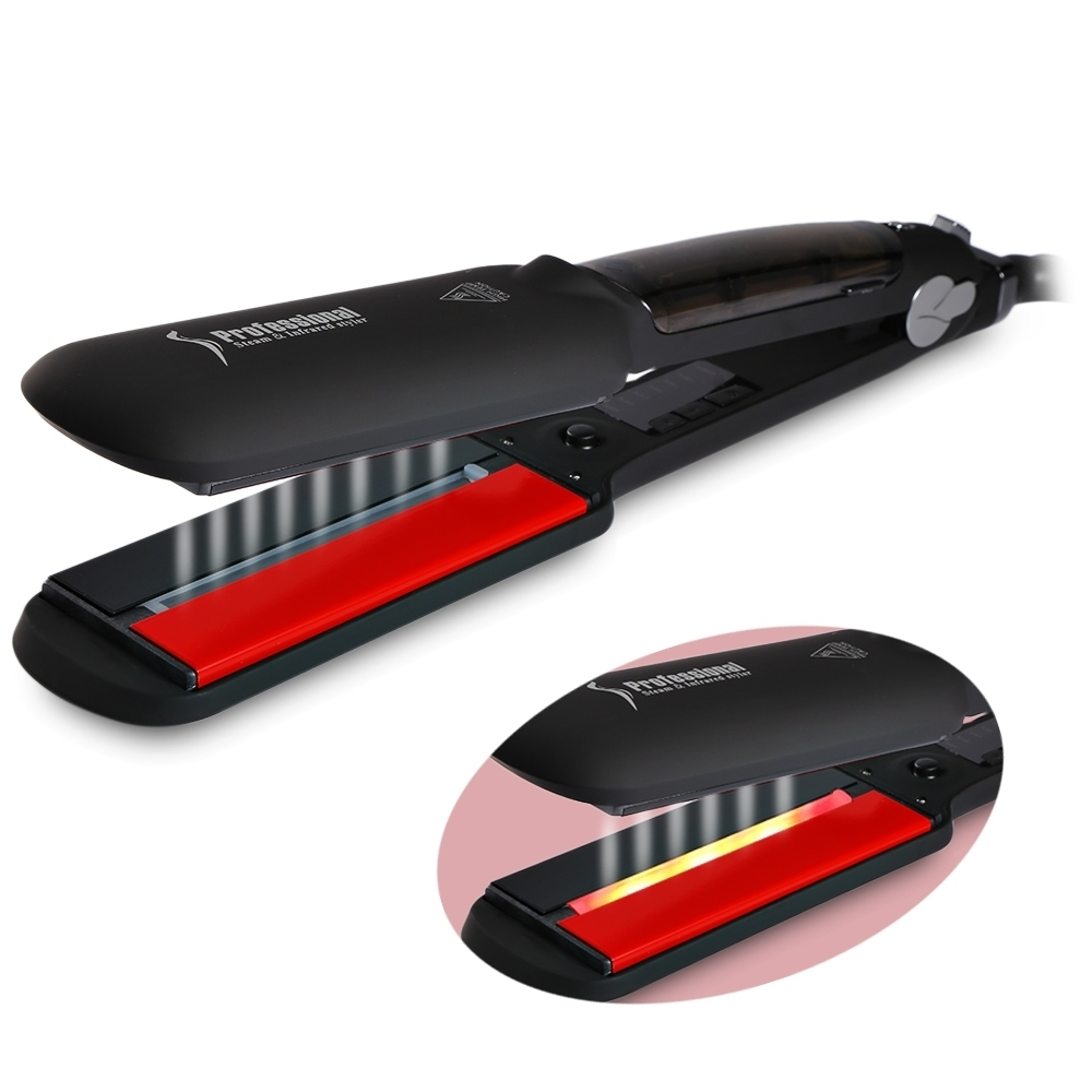 Infrared Steam Hair Straightener Curler Professional Flat Iron Seam Straightening Iron Hair Iron Steamer Wet / Dry Styling Tool ceramic steampod hair straightener professional steam flat iron styling tool straightening iron curler hairstyling for dry