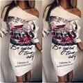Ocasional de las mujeres del verano atractivo del vendaje de bodycon del partido de tarde corto de un solo hombro floral dress lkd60