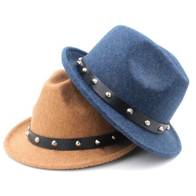 03a43b7438c 100% Wool Women Men Fedora Hat For Elegant Lady Dad Cashmere Trilby Felt Homburg  Church