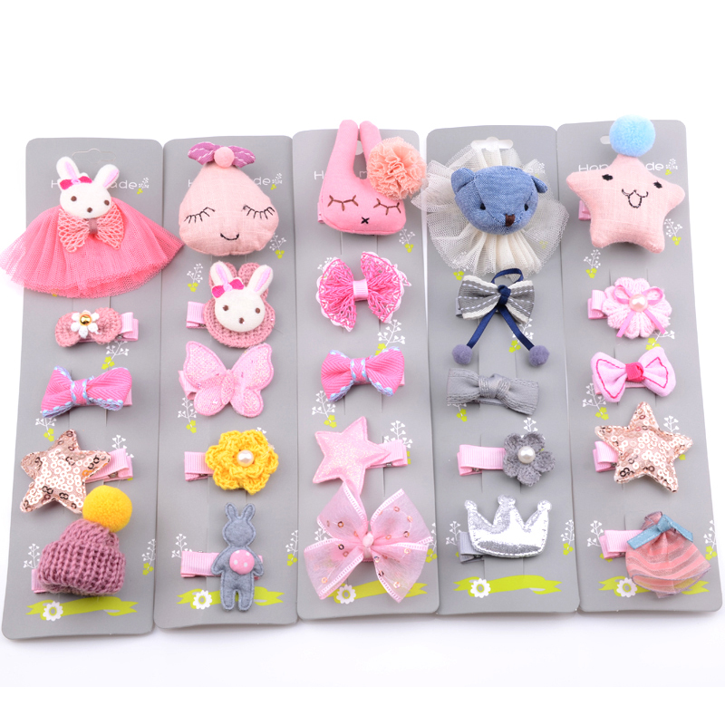 5Pcs/Set High Quality Children Cartoon Hairpins   Headwear   Set Kids Handmade Rabbit Bear Animals Hair Clips Accessories For Girls