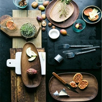 KINGLANG North American black walnut oval Key tray 4 models Solid wood irregular tea tray snack tray