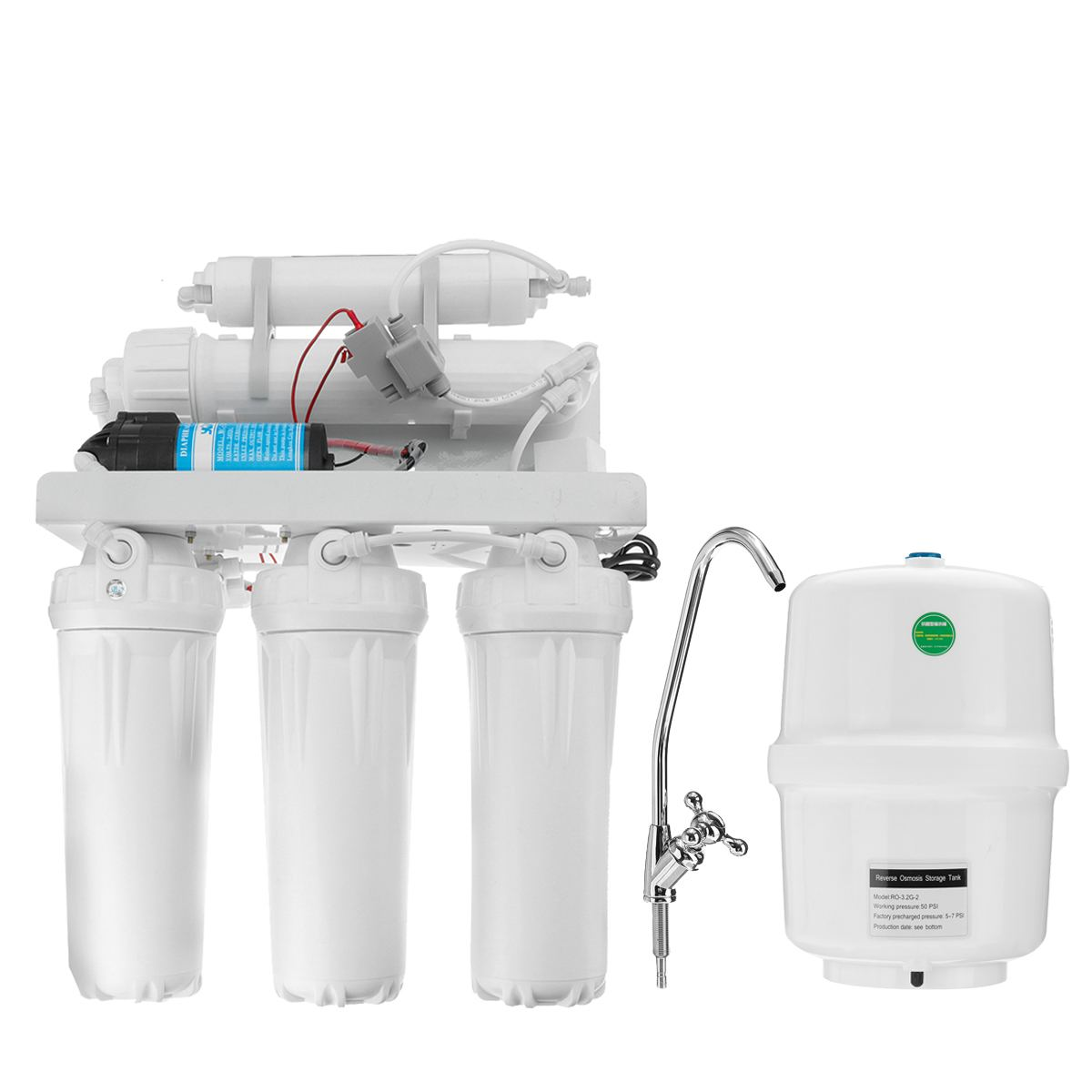 5 Stage RO Reverse Osmosis System Drinking Water Filter Kitchen Purifier Water Filters Membrane System Filtration With Faucet 6
