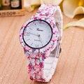 2016 Moda Floral de La Flor Del jardín belleza reloj pulsera Mujer Reloj de Lujo Del Reloj Del Cuarzo Relogio Feminino