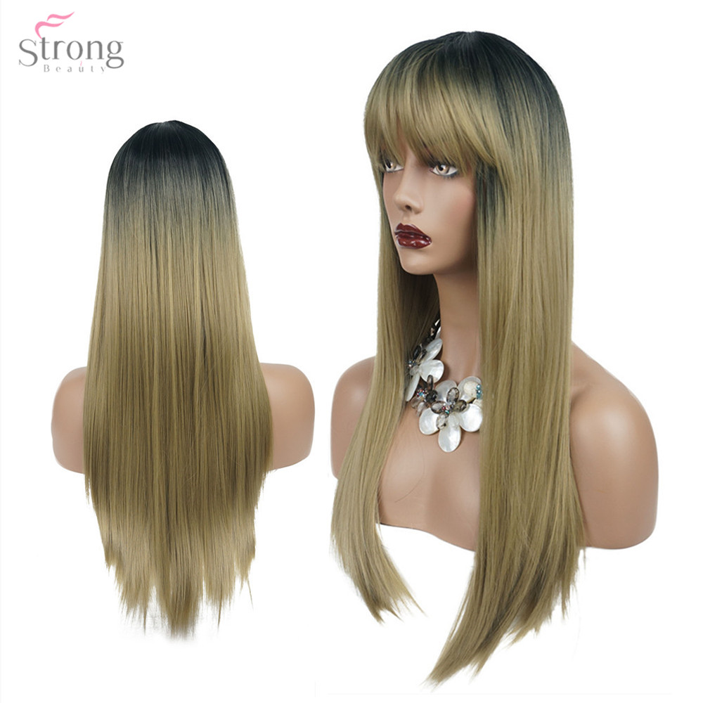 Strongbeauty Women's Synthetic Wigs Ombre Silver Gray/Blonde Hair Long Straight Neat Bang Style Natura Wigs