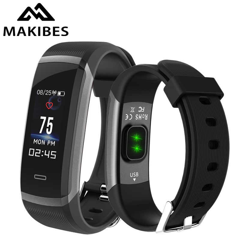 In Stock Makibes HR3 watchs Wristband Men's Clock Color Screen Bracelet Continuous Heart Rate Monitor Fitness Tracker Smart Band original makibes hr1 smart bracelet fitness activity tracker continuous heart rate monitor 0 96 oled bluetooth wristband