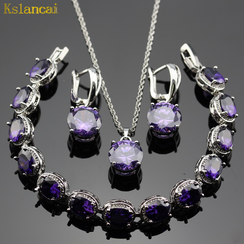 Lan 925 Sterling Sliver Jewelry Sets Purple Crystal AAA Cubic Zirconia Necklace& Pendant /Earring /Bracelet For Women Wedding