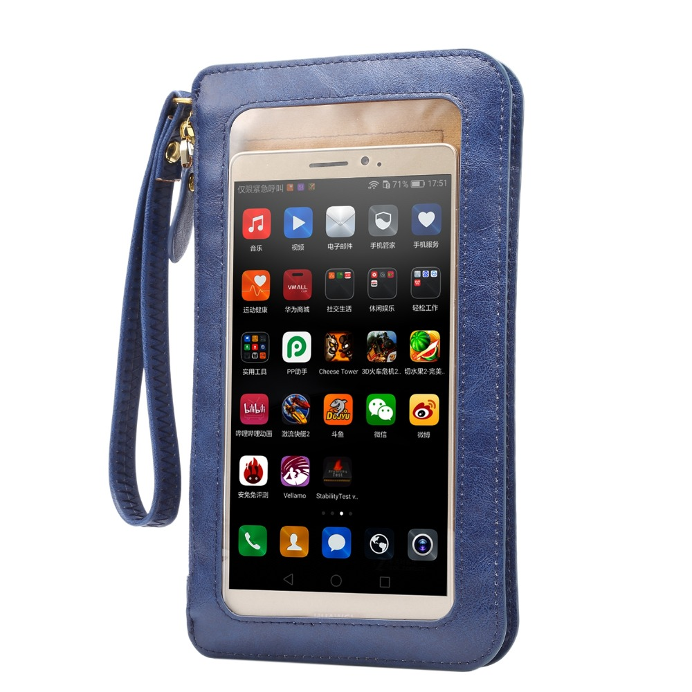Ambitious Universal Phone Bags Pu Leather Crazy Horse Pattern Phone Bag For Iphone Under 6.5 Inch With Card Slot, Straps And Hand Strap Exquisite Traditional Embroidery Art