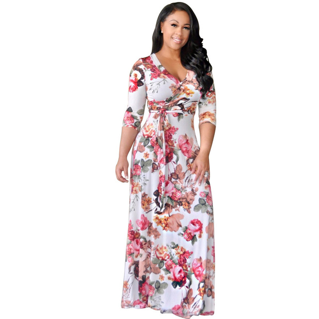 a4563635d26f8 Woman Dresses Large Sizes Lovely Pink Flower Floral Print African Casual  Party Boho Elegant Summer Fit and Flare Long Maxi Dress