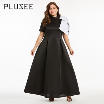 PLUSEE New Women Fashion Short Sleeve Bow Long Maxi Dress Elegant Black Party Dresses Plus Size Ball Dress