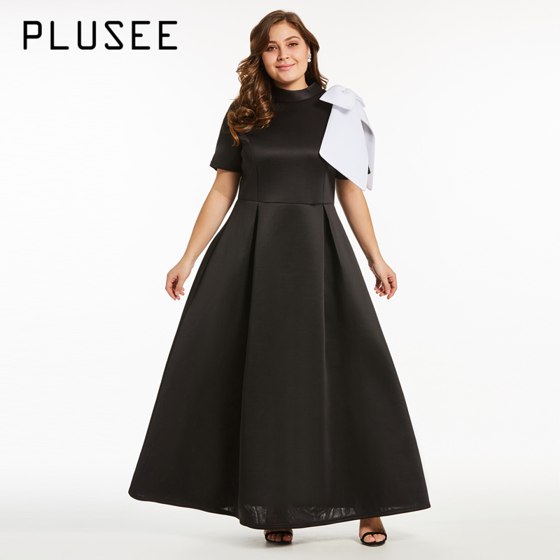 PLUSEE New Women Fashion Short Sleeve Bow Long Maxi Dress Elegant ...
