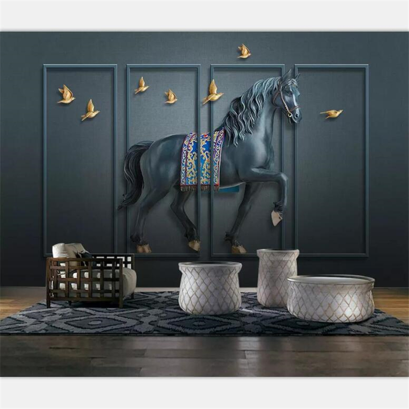 Beibehang Wallpaper Custom Large-scale High-end 3d Embossed Horse Screen New Chinese Style Wall Wallpapers For Living Room