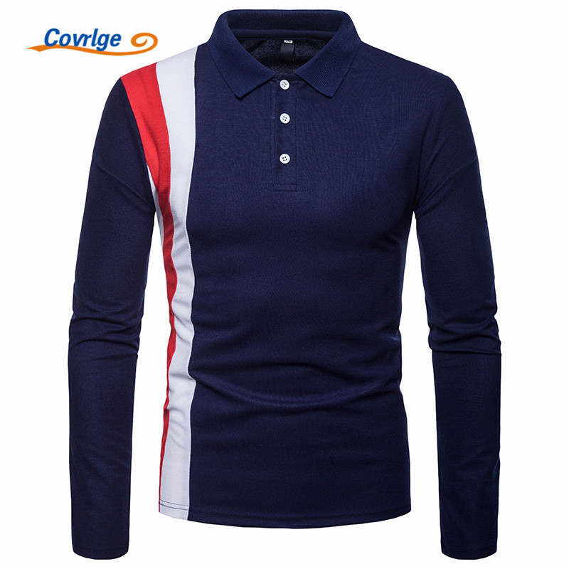 Covrlge 2018 High Quality Tops&Tees Mens Polo Shirts Business Fashion Autumn Slim Fit Style Long Sleeve Shirt Men MTP102