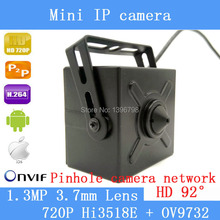 1.3MP 3.7mm lens mini pinhole ip camera 1280*720P home security system cctv surveillance HD onvif video P2P cam