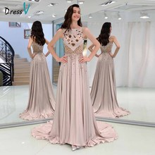Dressv elegant evening dress sleeveless zipper up floor-length beaded wedding party formal a line dresses