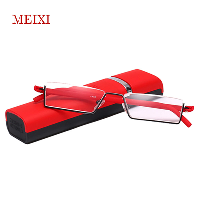 TR-90 Half Frame Portátil Magro Preto/Vermelho/Marrom Óculos De Leitura Com Caixa + 1.0 + 1.5 + 2.0 + 2.5 + 3.0 + 3.5 + 4.0
