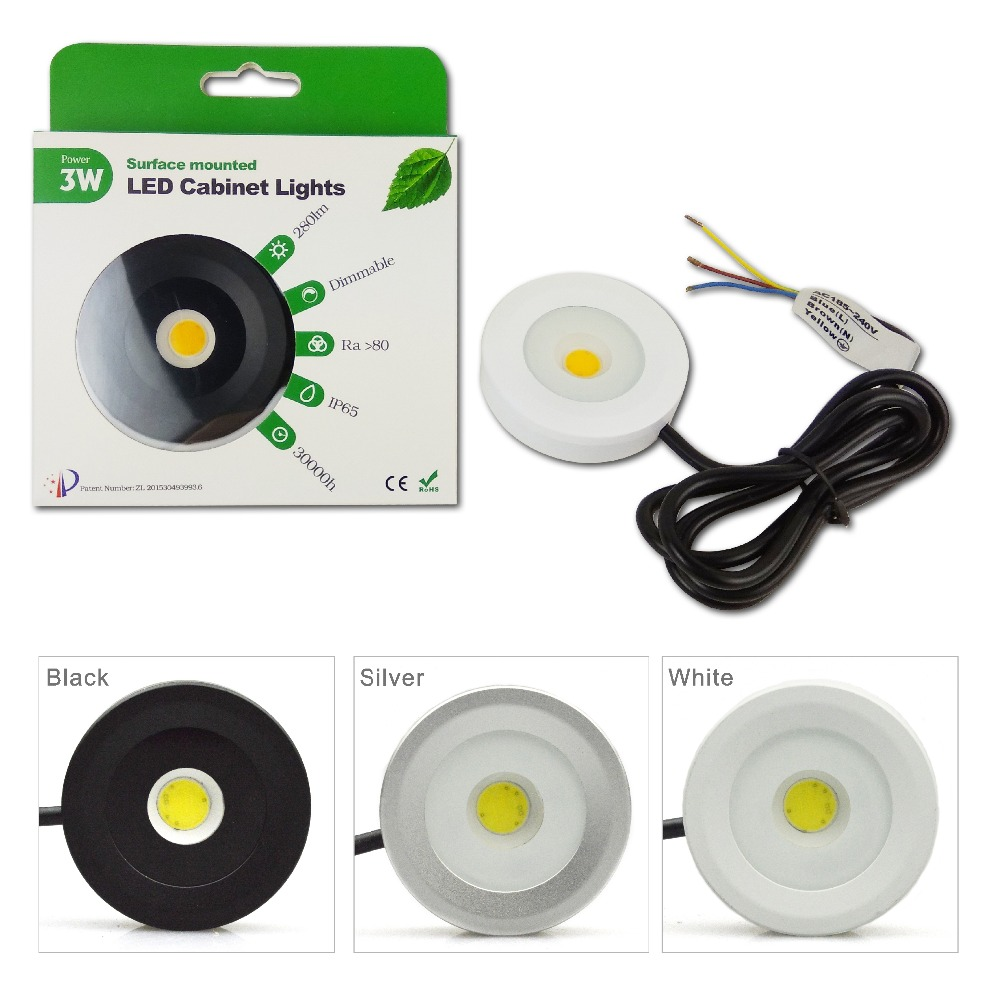 3W Led Cabinet Ceiling Light AC110V Or AC220V Input Dimming COB IP65 Indoor Use DownLight Furniture Showcse Lamp 6pcs