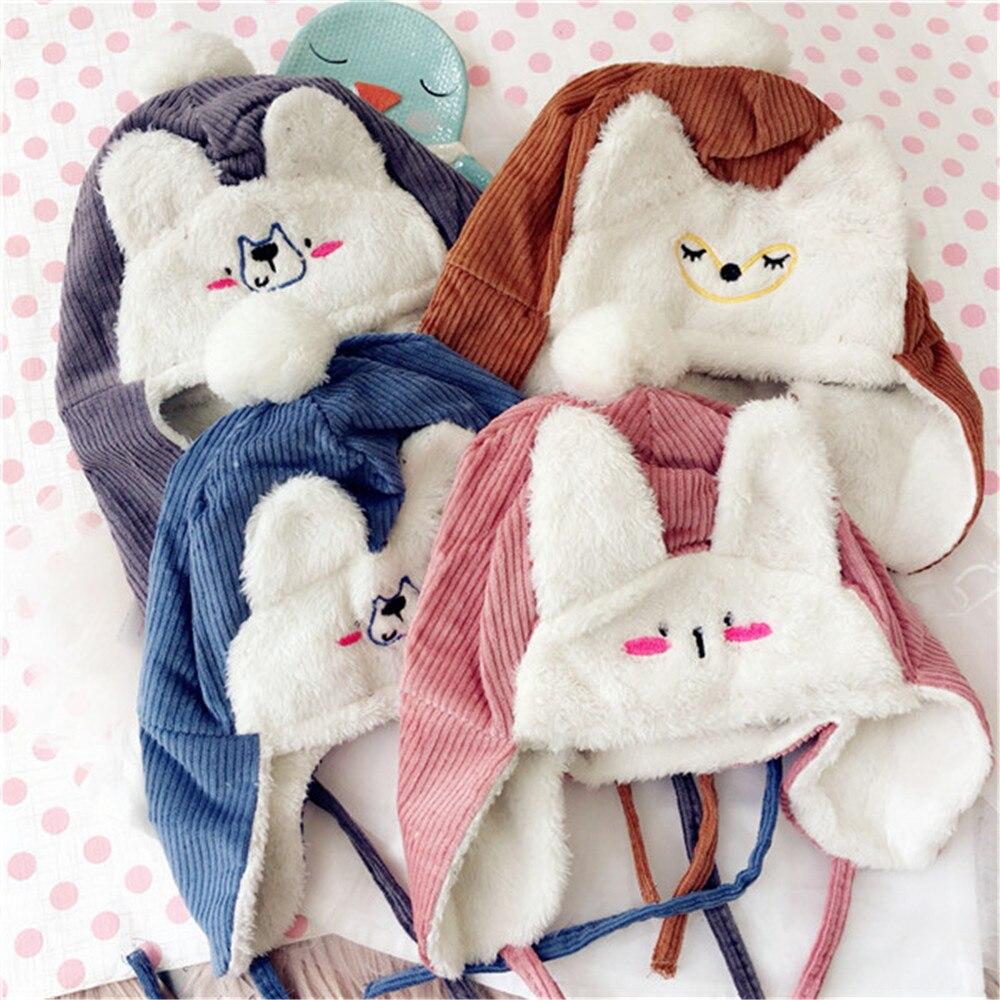 Korea Fall Winter Handmade Solid Cartoon Fox Bear Rabbit Children Kids   Skullies     Beanies   Hats Cartoon Caps Accessories