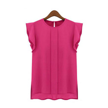 New Womens Blouses Summer Short Sleeve Chiffon O-neck Ruffled Pleated Sleeve Chiffon Shirt Top Women's Tee Tops
