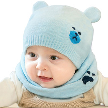 2823d715f8a Baby Newborn Hats Scarves Cute Bear Knitted Warm Beanies Cap Kids Protect  Ear Boy Girl Winter Hat Scarf Suits 2Pcs SetUS  3.28 - 4.31