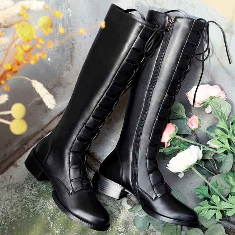 ФОТО 2017 shoes woman winter Women Black Knee High Boots Genuine Leather Long Motocycle boots elastic slim long boots lowland boot