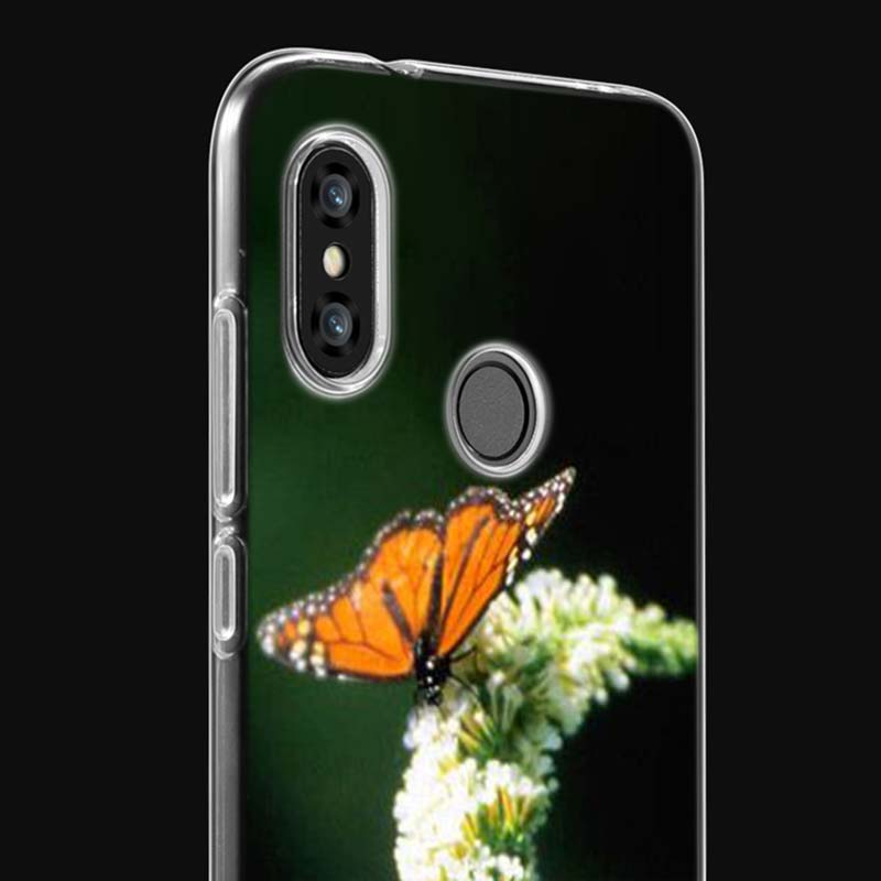 Transparent Soft Silicone Phone Case Red butterfly on flower for Xiaomi Redmi S2 Note 7 4 4X 5 5A 6 6A Pro Plus in Fitted Cases from Cellphones Telecommunications