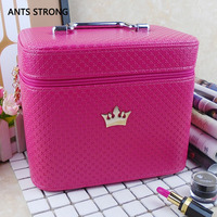 ANTS STRONG Practical portable Professional Cosmetic box/women Travel Makeup Organizer Bags Beauty Storage Box suitcase