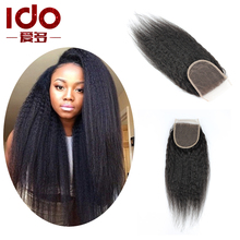Free/Middle/Three Part Kinky Straight Closure 100% Human Hair Natural Black Lace Closure 130% Density Cheap Lace Top Closure