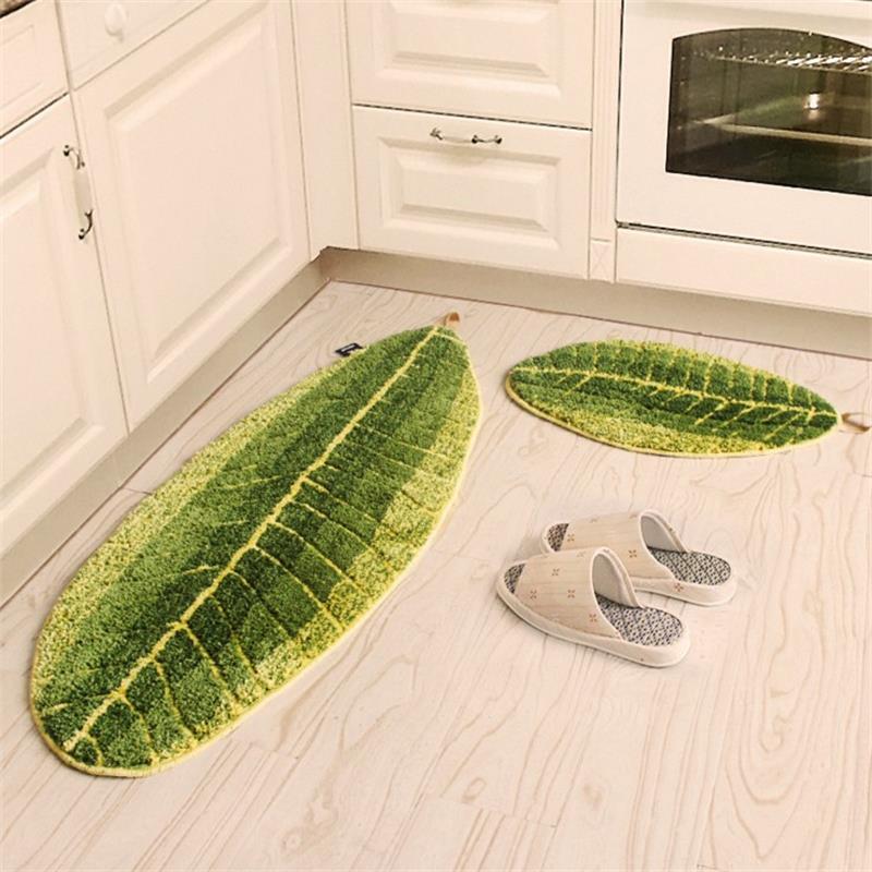 Thick Green Leave Bathroom Carpet Bedroom Pastoral Hallway Doormat Children Play Mat Area Rug Living