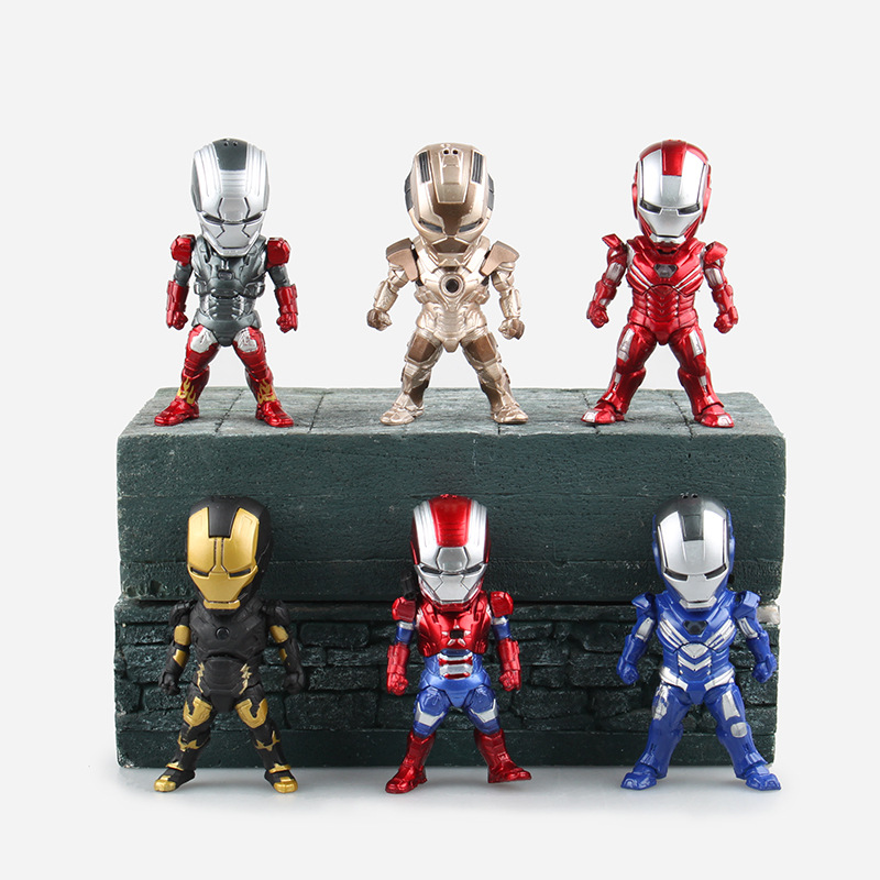 WVW 6pcs/Set The Avengers Q Version Thor Iron Man Play Arts Model PVC Toy Action Figure Decoration For Collection Gift marvel the avengers thor 7 pvc action figure removable model collection doll toy gift boy