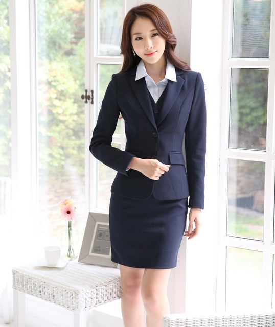 3e7c151de57 Formal OL Styles Professional Business Women Work Suits With Jackets And  Skirt Ladies Blazers Outfits Plus Size 4XL Spring Fall