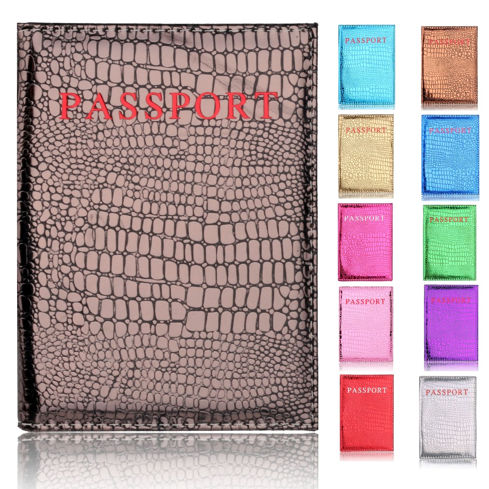 TRASSORY 2018 Women 39 s Fashionable Travel Passport Pouch Leather Passport Bag Crocodile Pattern Passport Holder in Card amp ID Holders from Luggage amp Bags