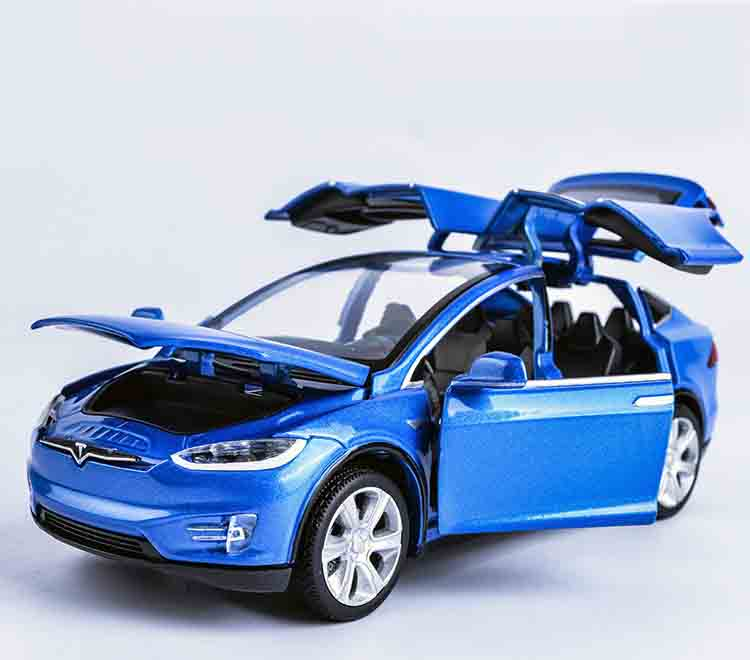 1:32 for Tesla for MODELX90 kids toys Car model sale Pull Back Musical Flashing Model Decoration Children like the gift